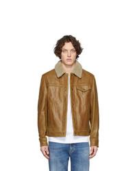 braune Shirtjacke aus Leder von Schott