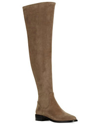 braune Overknee Stiefel aus Wildleder