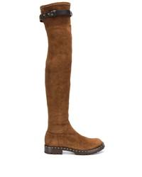 braune Overknee Stiefel aus Wildleder von Ermanno Scervino
