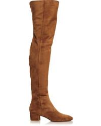 braune Overknee Stiefel aus Wildleder von Gianvito Rossi