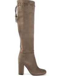 braune Overknee Stiefel aus Wildleder von Lanvin