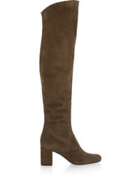 braune Overknee Stiefel aus Wildleder von Saint Laurent