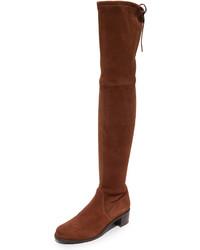 Braune Overknee Stiefel aus Wildleder von Stuart Weitzman