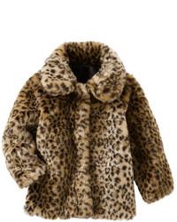 braune Pelzjacke mit Leopardenmuster