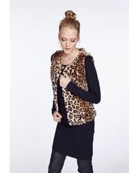 braune Pelzweste mit Leopardenmuster von myMo