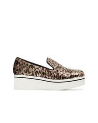 braune plateau Slippers mit Leopardenmuster von Stella McCartney