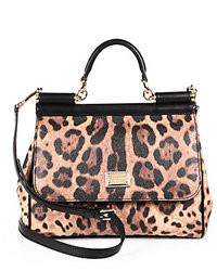 braune Satchel-Tasche aus Leder mit Leopardenmuster
