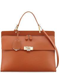 braune Satchel-Tasche aus Leder