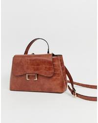 braune Satchel-Tasche aus Leder von ASOS DESIGN
