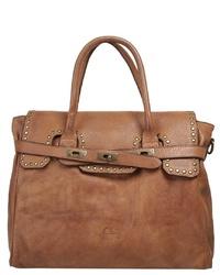 braune Satchel-Tasche aus Leder von CLUTY