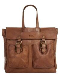 braune Satchel-Tasche aus Leder von forty°