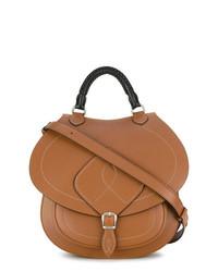 braune Satchel-Tasche aus Leder von Maison Margiela