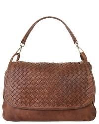 braune Satchel-Tasche aus Leder von SAMANTHA LOOK