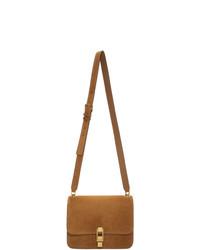 braune Satchel-Tasche aus Wildleder von Saint Laurent
