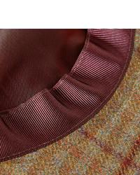 braune Schiebermütze mit Vichy-Muster