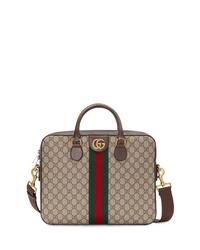 braune Segeltuch Aktentasche von Gucci
