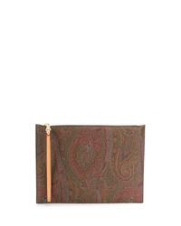 braune Segeltuch Clutch Handtasche mit Paisley-Muster von Etro