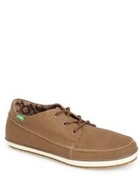 braune Segeltuch niedrige Sneakers