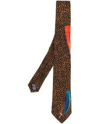 braune Seidekrawatte mit Leopardenmuster von Paul Smith