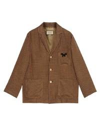 braune Shirtjacke mit Karomuster von Gucci