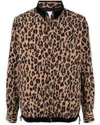 braune Shirtjacke mit Leopardenmuster von Sacai