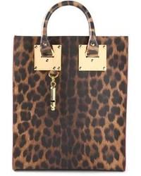 braune Shopper Tasche aus Leder mit Leopardenmuster