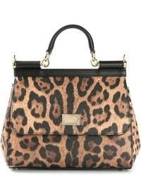 braune Shopper Tasche aus Leder mit Leopardenmuster von Dolce & Gabbana