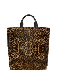 braune Shopper Tasche aus Leder mit Leopardenmuster von Dries Van Noten