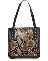 braune Shopper Tasche aus Leder mit Schlangenmuster