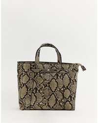 braune Shopper Tasche aus Leder mit Schlangenmuster von Stradivarius