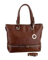 braune Shopper Tasche aus Leder von Emma & Kelly