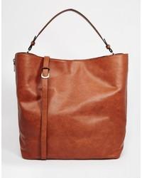braune Shopper Tasche aus Leder von Pull&Bear