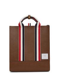 braune Shopper Tasche aus Leder von Thom Browne