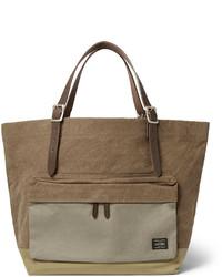 braune Shopper Tasche aus Segeltuch
