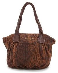 braune Shopper Tasche aus Wildleder mit Leopardenmuster