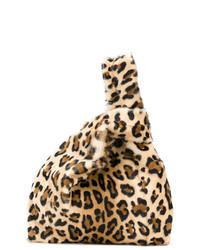 braune Shopper Tasche aus Wildleder mit Leopardenmuster von Simonetta Ravizza