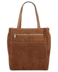 braune Shopper Tasche aus Wildleder von CLUTY