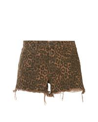braune Shorts mit Leopardenmuster von T by Alexander Wang