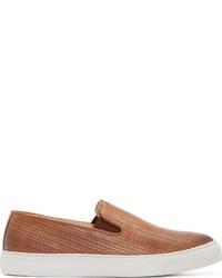 braune Slip-On Sneakers aus Leder