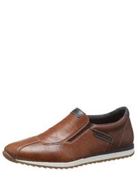 braune Slip-On Sneakers aus Leder von Rieker