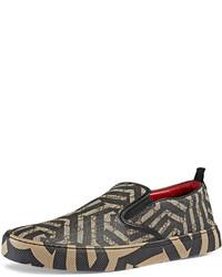 braune Slip-On Sneakers aus Segeltuch