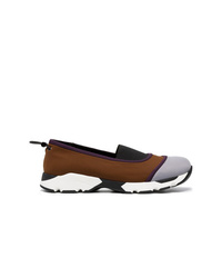 braune Slip-On Sneakers aus Segeltuch von Marni
