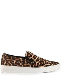 braune Slip-On Sneakers aus Wildleder mit Leopardenmuster von Michael Kors
