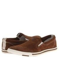 braune Slip-On Sneakers aus Wildleder