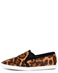 braune Slip-On Sneakers mit Leopardenmuster