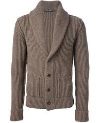 braune Strickjacke mit einem Schalkragen von Dolce & Gabbana