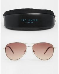 braune und goldene Sonnenbrille von Ted Baker