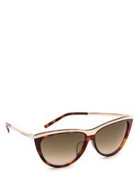 braune und goldene Sonnenbrille von Saint Laurent