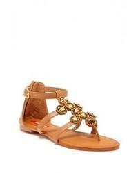 braune verzierte flache Sandalen aus Leder