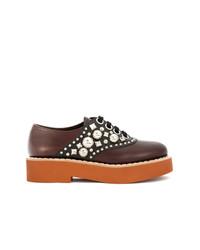 braune verzierte Leder Oxford Schuhe von Miu Miu